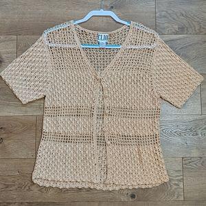 Vintage Clio crochet short sleeves sweater L